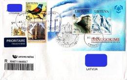 Lithuania Litauen Lituanie 2008 2009 Bird - European roller - Polar Regions and Glaciers s/sh (used on cover)