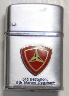 insigne US sur Briquet Guerre Vietnam 3 rd Battalion 9 th Marine Regiment Pipe Mate souvenir Adjudant-Chef  de la L�gion