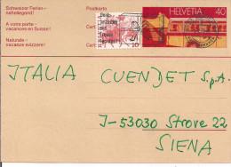 CARTE  postale de 0.40+0,10 - De Zurich pour  Siena, Italia, le 5/12/1978,
