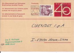 CARTE  postale de 0.40+0,40 - De Basel  pour  Siena, Italia, le 25/01/1980,