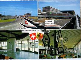 AK FLUGHAFEN AERODROME AEROPORT GENEVE COINTRIN ALTE POSTKARTEN 1968 - Aerodrome