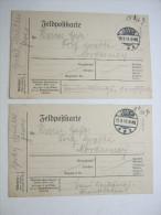 1916, JEVER , 2 Klare Stempel Auf 2 Feldpostkarten Nach Norderney - Brieven En Documenten
