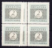 Kroatien Portomarken Mi# P13 Im Viererblock Davon 2 Abart P 13 Var. ** - Croatie