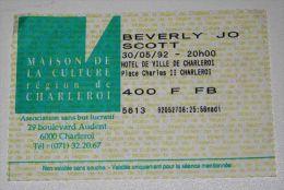 BEVERLY JO SCOTT Rare billet concert Collector ticket BELGIUM 30/05/1992