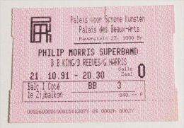 PHILIP MORRIS SUPERBAND Rare billet concert Collector ticket BELGIUM 21/10/1991