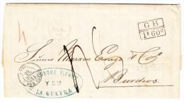 Venezuela Vorphila Brief Von LA GUAYRA 7.7.1871 Nach Burdeos - Schiffspost - Transit, Grenz Und Transit Stempel - Venezuela