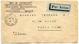 REUNION LETTRE PAR AVION DEPART SAINT-PIERRE 27-4-46 REUNION POUR LA FRANCE - Réunion (1852-1975)