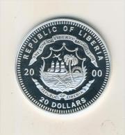 Liberia 20 Dollars 2000 PP Europa, Gedenkmünzen Silber  (40419) - Liberia