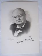 Gesigneerde kaart carte sign�e Winston Churchill form. 12.8 x 17.8 cm