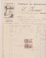 (ILLE ET VILAINE)RENNES,fabrique De Bonneterie , E MORAUD , Marque MENHIR , Rue Du Tourniquet - Textile & Vestimentaire
