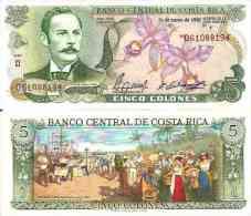 Costa Rica 5 COLONES (1990) Pick 236e UNC - Costa Rica