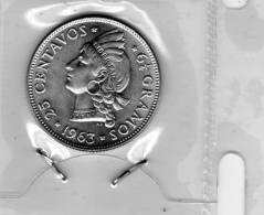 Veinticinco 25 Centavos Republica Dominicana 1963 COIN Unc - Dominicaine