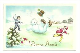 Bonne Année. Couple D´enfants Et Bonhomme De Neige En Patins à Glace, Champignons. Dorée. 1965 - Año Nuevo