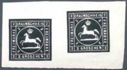 Braunschweig 1865 MINT Essay 2 Gr. Pferd Im Quadrat, Schwarz Im Paar, Ungebraucht Ohne Gummi  Horses Horse - Braunschweig