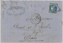 20c Bordeaux Sur Lettre De Mostaganem Du 1-3-71 Càd D'arrivée Oran 1-3-71 (dos Incomplet) - Algérie (1924-1962)