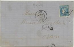20c Bordeaux Sur Lettre D'Oran Datée Du 29-3-71 Pour Oran + BM Ovale - Algérie (1924-1962)