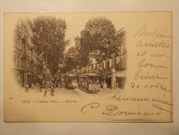 Carte Postale - NICE (06) - L'Avenue Thiers - Autobus Tramways (55M) - Transport Urbain - Auto, Autobus Et Tramway