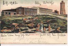 Brocken-Hotel ,Wäsche Farbe Postkarte Und BELEBTE In Relief 1902 Nach Charlottenburg - Wernigerode