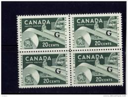 CANADA, 1955-56, #O45, QUEEN ELIZABETH 11, INDUSTRY DEFINITIVE, BLOCK  OF 4 MNH - Officials