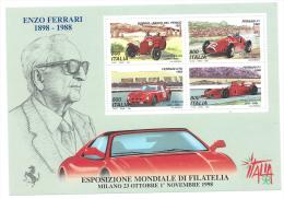 Italia, Italy 1998 ; Foglietto : Esposizione Mondiale Di Filatelia ; Enzo Ferrari . Nuovo - Esposizioni Filateliche