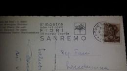 SP-000663 CARTOLINA VIAGGIATA DI SANREMO CON TIMBRO II' MOSTRA INTERNAZIONALE FIORI DI SANREMO - Affrancature Meccaniche Rosse (EMA)