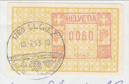 1993 Sugiez SWITZERLAND COVER SLOGAN Pmk Illus GRAPES  Wine  Fruit Meter Label Stamps - Wines & Alcohols