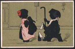 Couple Avec Poupee Et Bouteille De Vin Vino Wine - 1917 - Illustrator FB (2 Scans) - Silhouettes