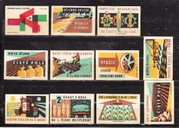 11 Verschiedene Tschechische Etiketten Ab Ca. 1950 (61128) - Zündholzschachteletiketten
