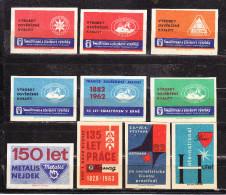 10 Verschiedene Tschechische Etiketten Ab Ca. 1950 (61130) - Zündholzschachteletiketten