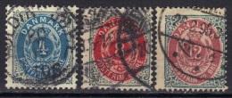 Danemark N° 23A, 24A, 25B - 1864-04 (Christian IX)