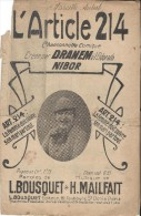 L'Article 214/ Dranem / Bousquet / Mailfait/ //  1918  PART62 - Partitions Musicales Anciennes