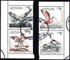 Lithuania Litauen Lituanie 1992 (04) Birds - Osprey, Godwit, Shelduck, Merganser (used)