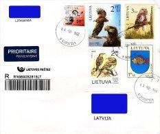 Lithuania Litauen Lituanie 2011 2012 2013 Birds - Eagle, Owl, Pipit - 2001 Coat of Arms - Veliuona, fish (used cover)