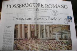 "VATICANO 2014 - EXTRAORDINARY COPIE NEWSPAPER ""OSSERVATORE ROMANO"" BEATIFICATION POPE PAUL VI - Prime Edizioni"