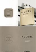 Cartes Parfumées Carte  CHANEL ALLURE  HOMME  EDITION  BLANCHE  Avec Patch Double Recto Verso - Cartes Parfumées