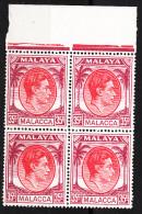 MALACCA  1949  KGVI  35 C BLOCK Of 4 TOP Of SHEET MNH - Malacca