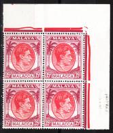 MALACCA  1949  KGVI  35 C BLOCK Of 4 TOPRIGHT CORNER Of SHEET MNH - Malacca