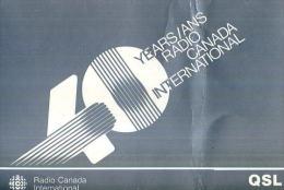 QSL RADIO CANADA INTERNATIONAL 40 YEARS - Radio