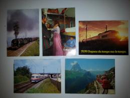 TRAIN CHEMIN DE FER ( LOT DE 5 CARTES ) - Trains