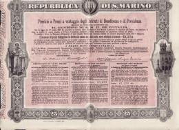 SAN MARINO  1908 /   Prestito A Premi A Vantaggio Degli Istituti Di Beneficenza E Di Previdenza - Azioni & Titoli