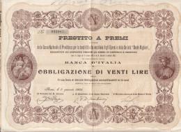 BANCA  D'ITALIA    1.1.1905  /   Prestito A Premi _ Obbligazione Di Venti Lire - Banco & Caja De Ahorros