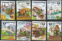 Dominica,  Scott 2015 # 1054-1061, Issued 1987,  Set of 8,  MNH,  Cat $ 15.15,  Disney