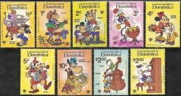 Dominica,  Scott 2015 # 644-652, Issued 1979,  Set of 9,  MNH,  Cat $ 6.25,  Disney
