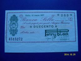 MINIASSEGNO   BANCA  SELLA  VALORE  200 LIRE  FDS 1° SCELTA (PENNY BLACK) 10 MARZO 1977 - [10] Assegni E Miniassegni