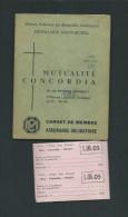 BELGIQUE1966 CARNET DE MUTUALITE CONCORDIA AVEC  10 ETIQUETTES WILLY LAMBERT/MAURAGE 5 SCANS - Non Classés