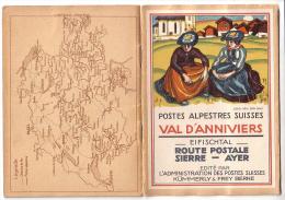 Publicité, Postes Alpestres Suisses Val D'Anniviers Litho Ed. Bille 24 Pages + Dépliant Carte Et 9 Litho Wyss - Werbung