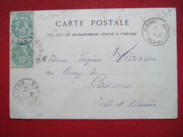 COEMES - CARTE POSTALE DE COUTANCES ( 50 ) - AFF DE 2 TP 5c TYPE BLANC X 2 - AVEC CACHET DE COEMES ( 35 ) - - Marcophilie (Lettres)