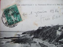 50 - GRANVILLE - CARTE POSTALE DE GRANVILLE - AFF 5c SEMEUSE  - AVEC CACHET DU 1 JANVIER 1914 - TRES RARE - - Marcophilie (Lettres)