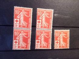 France 1914 10c Semeuse Croix Rouge, Yv. 147 ** 5 Exemplaires NEUF SANS CHARNIÉRE Cote = 500€ Minimum