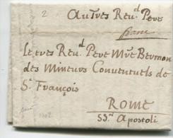 AVIGNON Lettre En Port-payé Pour ROME / 1702/ Eglise. - 1701-1800: Précurseurs XVIII